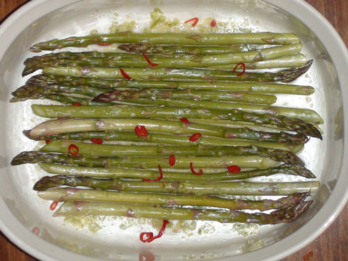 raw food photo: Marinated Asparagus
