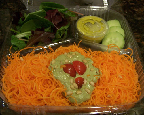 raw food photo: carrot pesto pasta