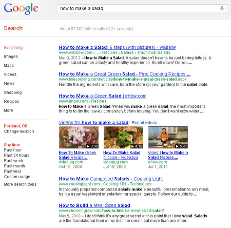 MarketingPortland.com Internet Marketing Article: Screenshot for *how to make a salad*